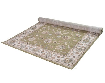 Green & Ivory Pattern Rug