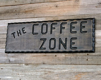 COFFEE Sign, Wood Coffee Sign,  Coffee Zone, Kitchen Decor, Rustic Decor, Coffee Shop, Carved Wood Sign