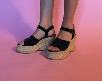 90s Made in Spain Espadrille Platform Wedge Sandals size 7