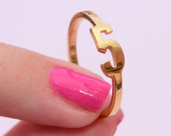 """Number 5 """"Five"""", Gold Number Ring, Sterling Silver 925, ANY NUMBER Personalized Ring, Silver Number Ring, Numbers Jewelry, Lucky Number"""