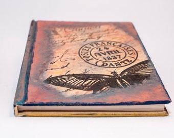 Writing Journal, Vintage Notebook, Handmade Notebooks, Travel notepad, Decoupaged Journals, Napkin, Bookmark, Girlfriend Gift, Girly Journal