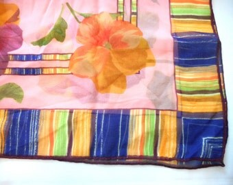 Vintage Spring time Scarf, Vintage Silk Scarf, Beautiful Vivid Colors, Pink, Purple, Blue, Orange, Green, Multi Colored Stripped Border