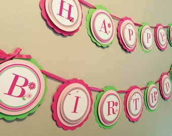 Pink ladybug happy birthday banner. Pink and lime green birthday banner. Ladybug 1st birthday. Pink 1st birthday banner. Ladybig birthday.