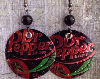 Up-cycled Dr Pepper Soda Can Earrings, recycled can crafts, Cherry Dr Pepper