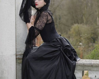 Black Taffeta Victorian Bustle Skirt Ballgown Gothic Handmade