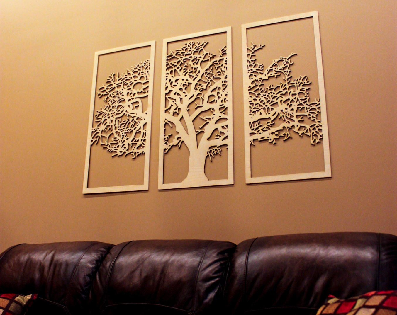 Tree of life 3d 3 panel tree wood wall art beautiful tree for Tree wall art