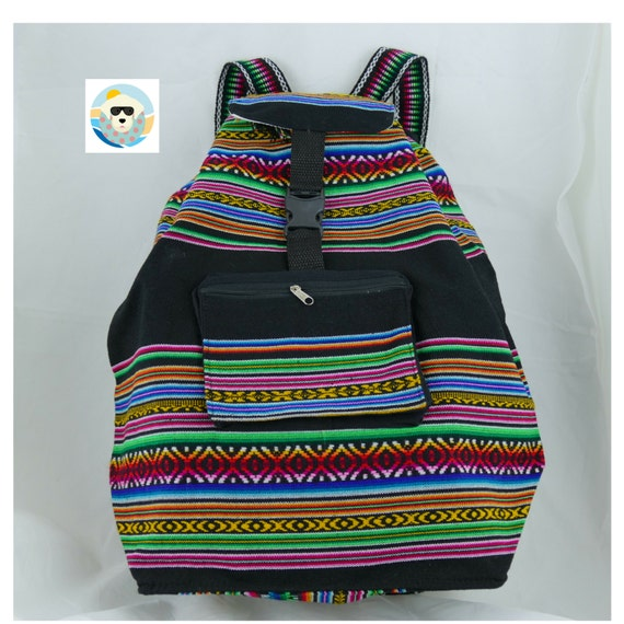 Cool Backpack with Multi Color And Black Manta Fabric Great Capacity Rucksack, Expandable, Resistant, Light Weight