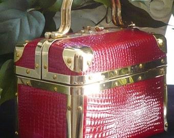 Vintage Borsa Bella Red Embossed Box Train Trunk Handbag