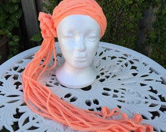 Peach convertible headband/scarf (Also available for toddlers)