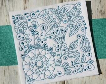 In Flower Redwork Blocks 12 Different Machine Embroidery Designs 4x4 5x7 6x10 8x8