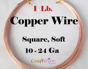 1 Lb Copper Square Wire, Dead Soft, 10 - 24 Gauge, Wrapping Wire, Jewelry Making, 10 12 14 16 18 20 22 24 Ga, CDA 110