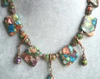 Rainbow Jasper Necklace and Earring Set