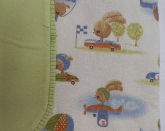 Bunny Airplane and Car Receiving Blanket - Large