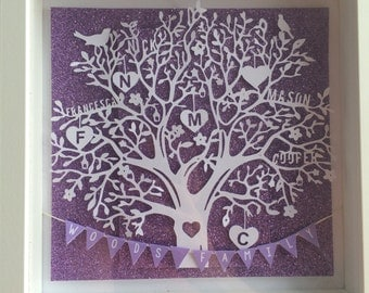 Family frame | Paper cut wedding Frame | personalised anniversary birthday gift present