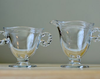 Vintage,Fostoria Coronet, Creamer and Sugar Bowl, Candlewick Design, Glass Creamer and Sugar