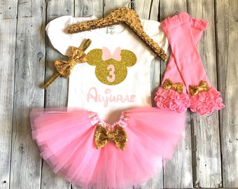 Pink and gold Minnie Mouse third birthday outfit, minnie birthday outfit, pink Minnie Mouse birthday, pink and gold Minnie Mouse birthday