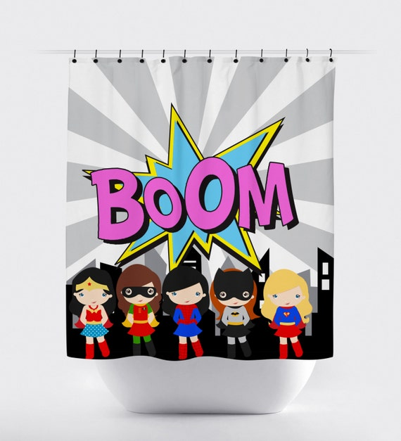 Supergirls shower curtain superhero girl superhero shower curtain