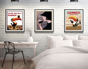 Guinness Poster Set of 3 Guinness Beer Poster Triptych