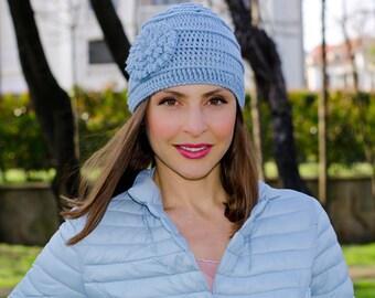 Light blue crochet flower hat, knit hat with flower, flower beanie, crochet beanie with flower, winter hats for women, womens beanies