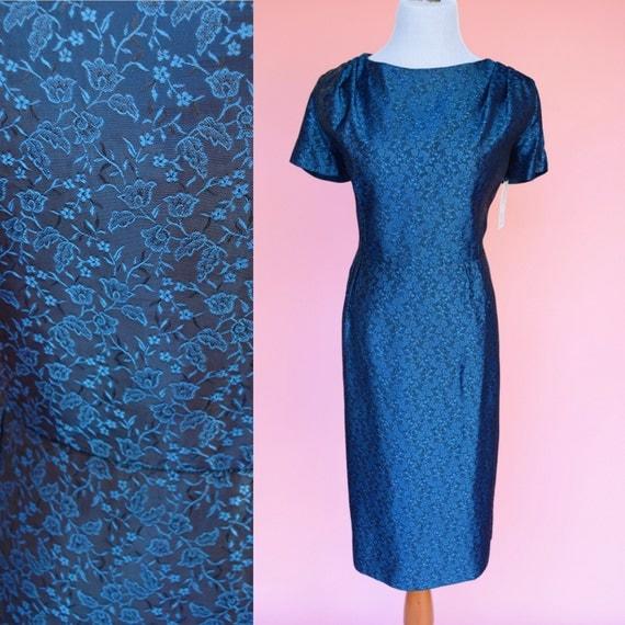 60s Vintage, Dark Blue, Cocktail dress // 1960s, Midnight Blue, Floral Party Dress, Women's Size Medium