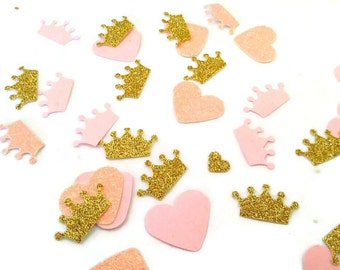 gold and pink princess confetti, table scatter, bridal shower, baby shower, gender reveal,
