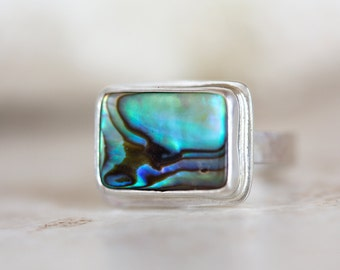 Abalone Ring, Paua Shell Ring, Abalone Shell and Silver Ring