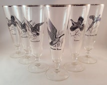 SALE - Pilsner Game Bird Glasses - Federal Glass - Set of 6 - Beer Glasses