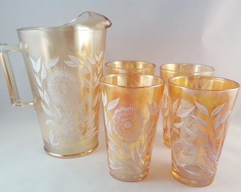 SALE - Opalescent Peach Sunflower Pitcher and Glass Set - Jeannette Glass - Cosmos Pattern - 1940's