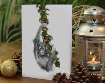 CUTE BABY ORANGUTAN Drawing Christmas Card - Gemma Hayward Art