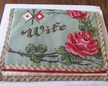 Vintage  Handkerchief Holder Patriotic Silk Homefront Wife & Flag