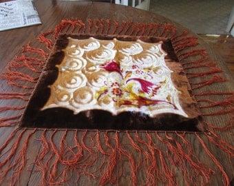 Vintage Velvet Tie Dyed Fringed Floral Swirl Table Scarf
