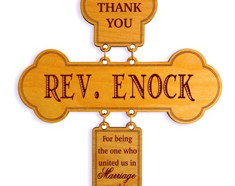 Bishop/Reverend/Priest Appreciation Gift On our Wedding,Wedding Officiant Gift,Wedding Thank You Cross,Custom Wedding Celebrant Gift, DWO002