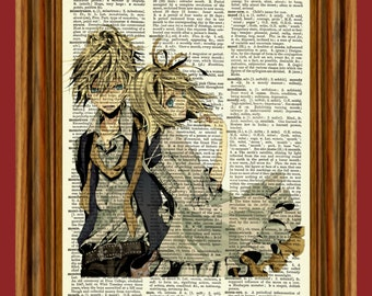 Rin & Len Kagamine Vocaloid Upcycled Dictionary Art Print Poster