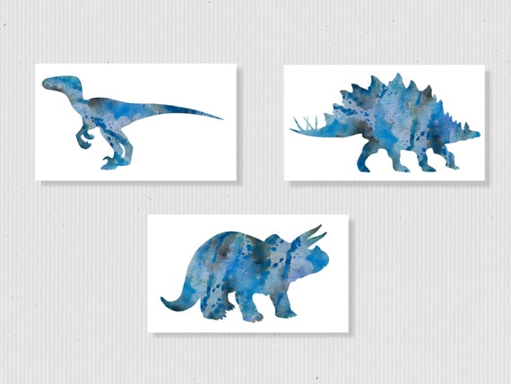 blue dinosaur wall art boys room decor set of 3 kids room. Black Bedroom Furniture Sets. Home Design Ideas