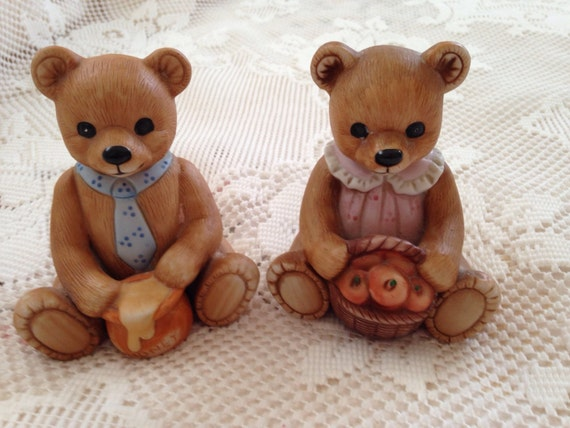Homco Bear Figurines Home Interiors Bear Figurines Bisque