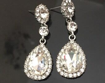 Crystal Bridal Earrings Wedding Earrings Wedding Jewelry  Bridal Teardrop Earrings Bridal Jewelry Vintage Wedding Jewelry Drop Earrings