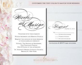 Classic Black & White Wedding Invitations-Formal Wedding Invites- Traditional Wedding Invites-Digital File or Professionally Printed-MW06