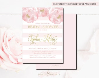 Bridal Shower Invitation-Pink & Digital Gold Foil Bridal Shower invitations- Modern Shower invites-Digital File or Printed Cards-BS37