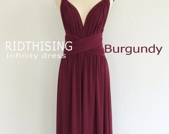 Maxi Burgundy Infinity Dress Bridesmaid Dress Prom Dress Convertible Dress Wrap Dress