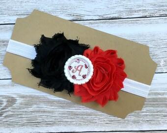 Lady bug headband - baby headband - girls headband - inital headband - personalized headband - black and red headband - infant headband