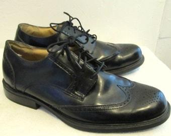 Men's Vintage 90's,SHARP Black Leather Comfort WINGTIP Shoes By C&B Core.11M