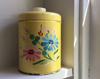 Small Yellow Tin - Tole Painted Tin - Ransburg Tin - Indianapolis, IN - Tin with Lid