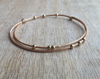 Gold Beaded Anklet, Waxed Cord Anklet, Gold Anklet, Adjustable Anklet, Waterproof WA001389