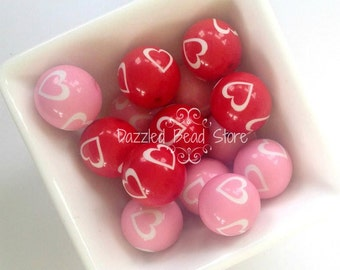 20mm Acrylic chunky VALENTINE HEART beads Red Pink