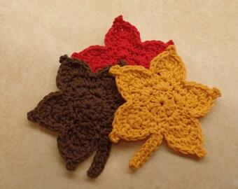 Crochet Easy Fall Leaf Autumn Leaf crochet leaves pattern DIGITAL DOWNLOAD ONLY