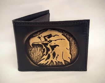 Eagle Bifold or Trifold Leather Wallet B1809