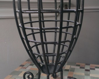 Black Cast Iron Spiral Vase with Curly Q Legs