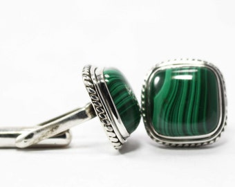 Amazing Malachite Cufflinks 925 Sterling Silver Green Amorejewels Free Shipping!!