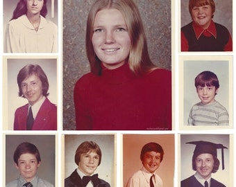 School Days Set of 13, 1970s, Vintage Photographs