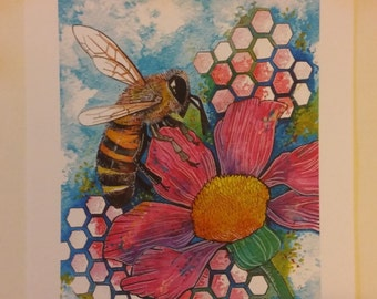 Honey Bee on flower with honeycomb A4 watercolour print.